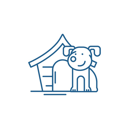 Icône de concept de ligne de chien domestique. Chien domestique vecteur télévision signe site Web, symbole du contour, illustration. Vecteurs