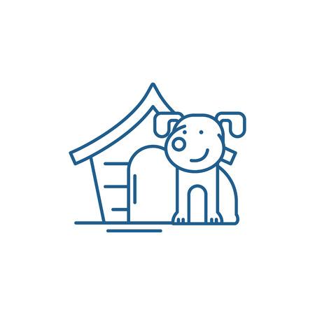 Domestic dog line concept icon. Domestic dog flat  vector website sign, outline symbol, illustration.