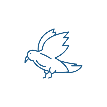 Dove line concept icon. Dove flat  vector website sign, outline symbol, illustration.