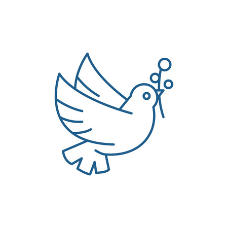 Dove of peace line concept icon. Dove of peace flat  vector website sign, outline symbol, illustration. 일러스트