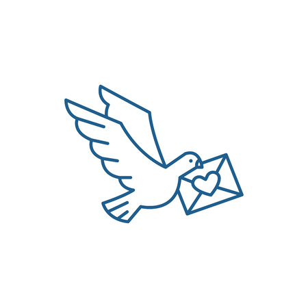 Dove with a letter line concept icon. Dove with a letter flat  vector website sign, outline symbol, illustration.