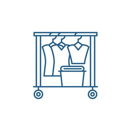 Dresser line concept icon. Dresser flat  vector website sign, outline symbol, illustration.