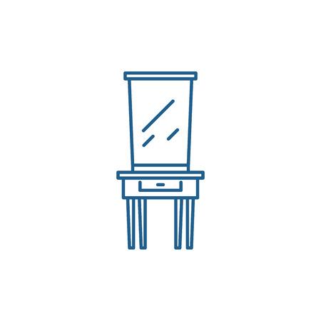 Dressing table line concept icon. Dressing table flat  vector website sign, outline symbol, illustration. Stockfoto - 119915206