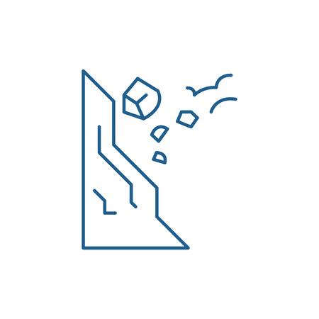 Drop stones carefully line concept icon. Drop stones carefully flat  vector website sign, outline symbol, illustration.