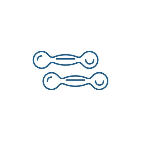 Dumbbells line concept icon. Dumbbells flat  vector website sign, outline symbol, illustration. 向量圖像