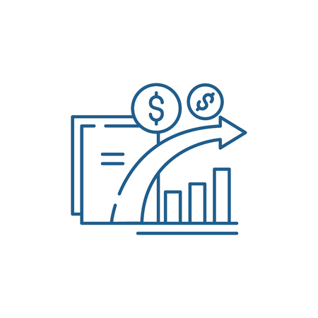 Dynamics of financial growth line concept icon. Dynamics of financial growth flat  vector website sign, outline symbol, illustration.