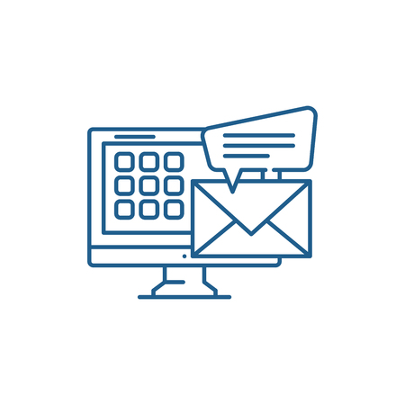E mail line concept icon. E mail flat  vector website sign, outline symbol, illustration.