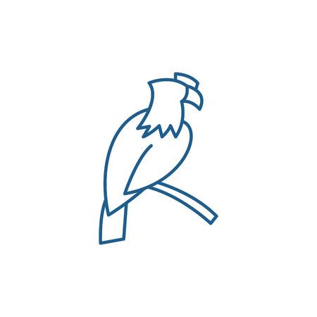 Eagle line concept icon. Eagle flat  vector website sign, outline symbol, illustration.