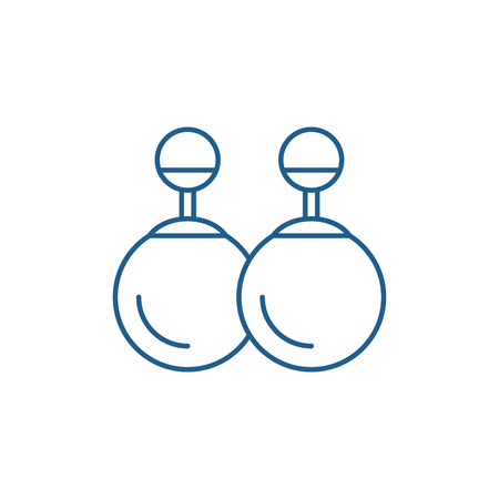 Earrings line concept icon. Earrings flat  vector website sign, outline symbol, illustration.