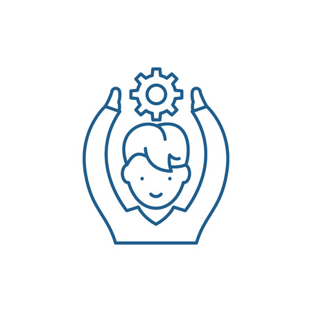 Employee potential line concept icon. Employee potential flat  vector website sign, outline symbol, illustration. Ilustracja