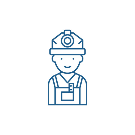 Engineer line concept icon. Engineer flat  vector website sign, outline symbol, illustration.