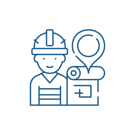 Engineer and house plan line concept icon. Engineer and house plan flat  vector website sign, outline symbol, illustration.