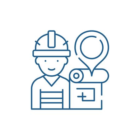 Ingegnere e piano casa icona del concetto di linea. Ingegnere e piano casa vettore piatto sito web segno, simbolo di contorno, illustrazione.