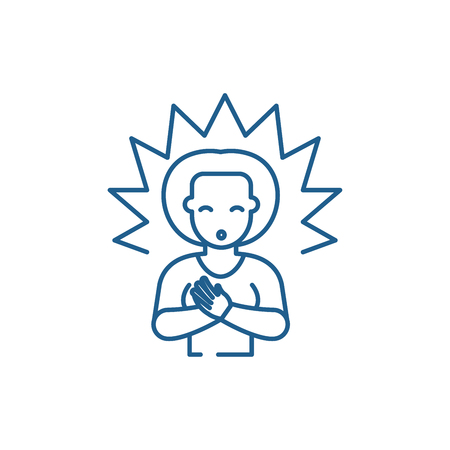 Enlightenment line concept icon. Enlightenment flat  vector website sign, outline symbol, illustration. 일러스트