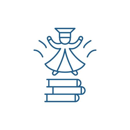 Enter the university line concept icon. Enter the university flat  vector website sign, outline symbol, illustration. Ilustrace