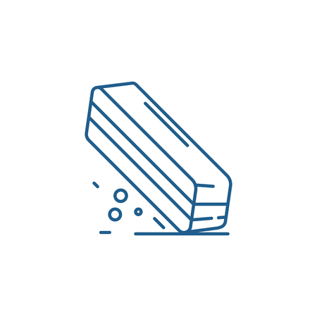 Eraser line concept icon. Eraser flat  vector website sign, outline symbol, illustration. Stock Illustratie