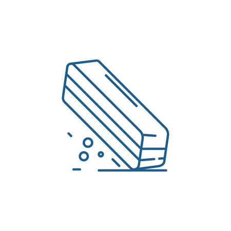 Eraser line concept icon. Eraser flat  vector website sign, outline symbol, illustration. Illustration