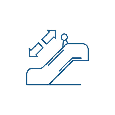 Escalator line concept icon. Escalator flat  vector website sign, outline symbol, illustration.