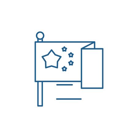 Eu flag line concept icon. Eu flag flat  vector website sign, outline symbol, illustration.