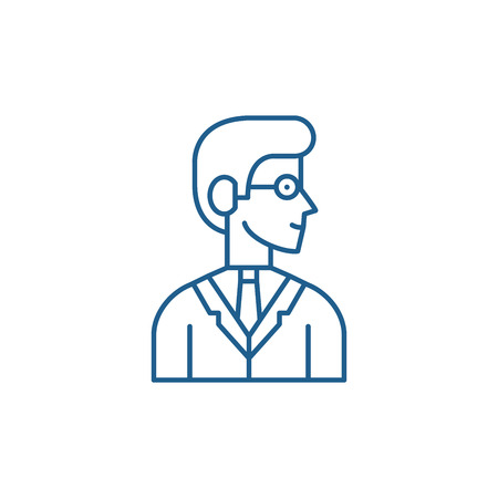 Employee line concept icon. Employee flat  vector website sign, outline symbol, illustration.