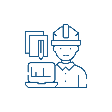 Engineer and computer line concept icon. Engineer and computer flat  vector website sign, outline symbol, illustration.