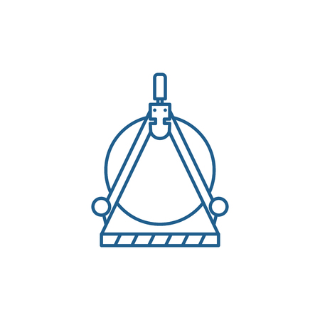 Engineering calculation line concept icon. Engineering calculation flat  vector website sign, outline symbol, illustration. Standard-Bild - 119914895