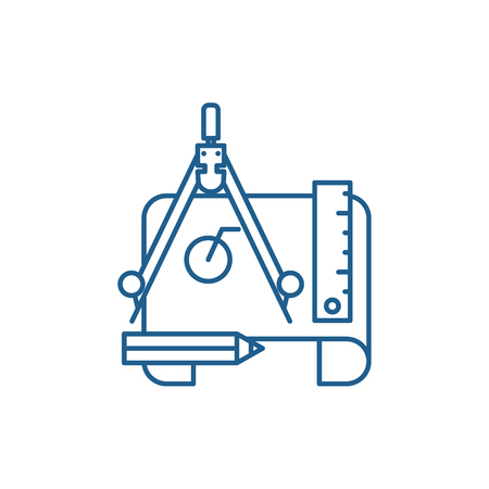 Engineering project line concept icon. Engineering project flat  vector website sign, outline symbol, illustration.