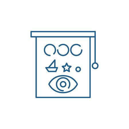 Eyesight check line concept icon. Eyesight check flat  vector website sign, outline symbol, illustration.