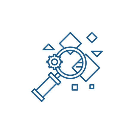 Fact search line concept icon. Fact search flat  vector website sign, outline symbol, illustration.