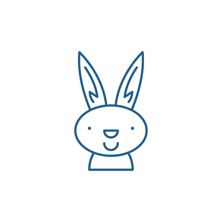 Easter bunny line concept icon. Easter bunny flat  vector website sign, outline symbol, illustration. Иллюстрация