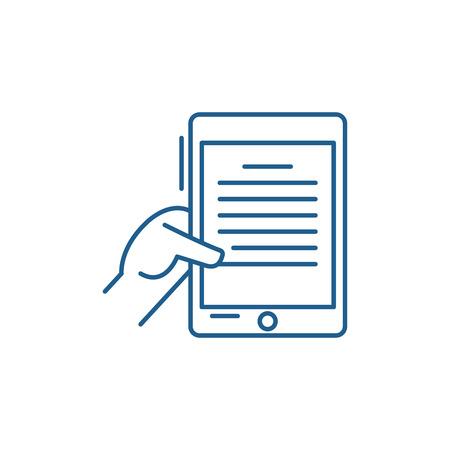 Ebook line concept icon. Ebook flat  vector website sign, outline symbol, illustration.