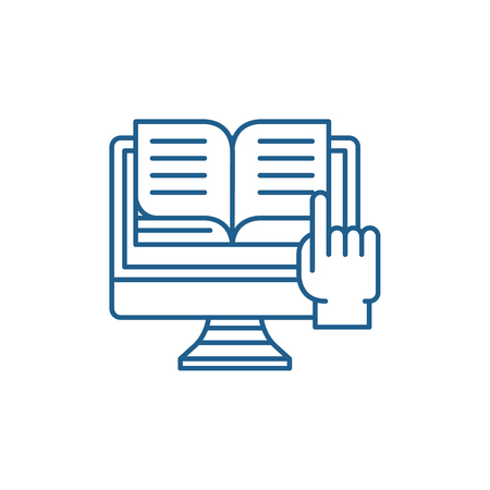Ebooks line concept icon. Ebooks flat  vector website sign, outline symbol, illustration. 向量圖像