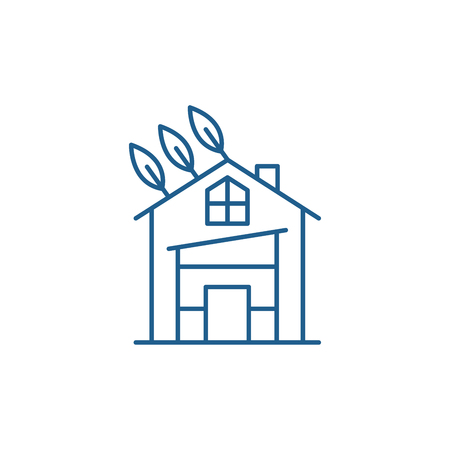 Eco house line concept icon. Eco house flat  vector website sign, outline symbol, illustration.
