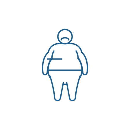 Fat person line concept icon. Fat person flat  vector website sign, outline symbol, illustration.