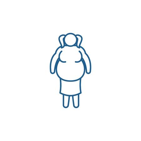 Fat woman line concept icon. Fat woman flat  vector website sign, outline symbol, illustration.