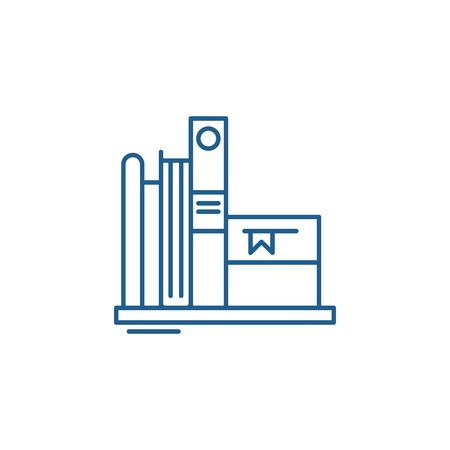 Favorite books line concept icon. Favorite books flat  vector website sign, outline symbol, illustration.