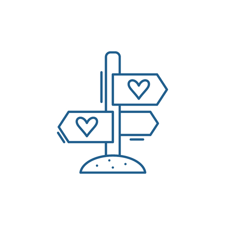 Favourite directions line concept icon. Favourite directions flat  vector website sign, outline symbol, illustration. Illustration