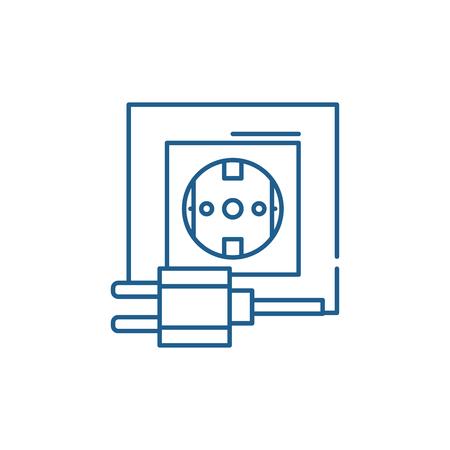 Icono de concepto de línea de enchufe eléctrico. Sitio web de vector plano de enchufe eléctrico de señal, símbolo de contorno, Ilustración.