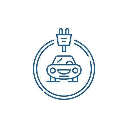Electrics cars line concept icon. Electrics cars flat  vector website sign, outline symbol, illustration.