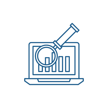 Electronic accounting system line concept icon. Electronic accounting system flat  vector website sign, outline symbol, illustration. Illusztráció