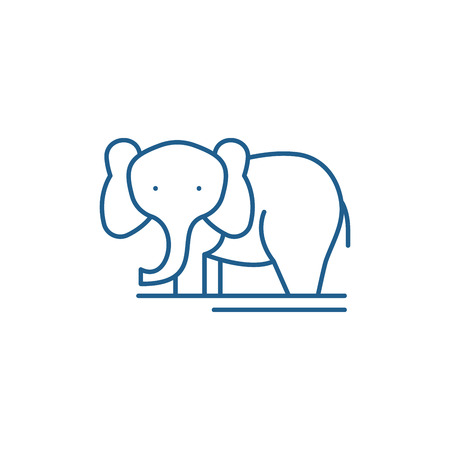 Elephant line concept icon. Elephant flat  vector website sign, outline symbol, illustration. Banque d'images - 119914845