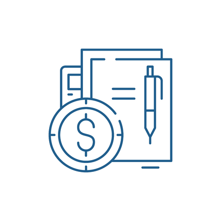 Financial contract line concept icon. Financial contract flat  vector website sign, outline symbol, illustration. Çizim