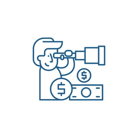 Financial forecast line concept icon. Financial forecast flat  vector website sign, outline symbol, illustration.