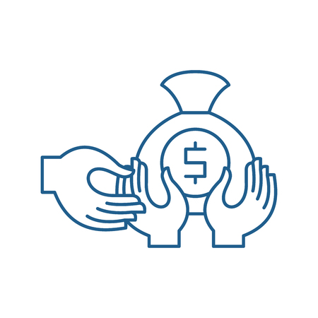 Financial fraud line concept icon. Financial fraud flat  vector website sign, outline symbol, illustration. Stock Illustratie