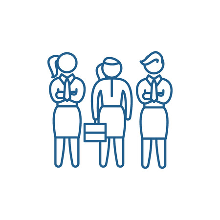 Female employees line concept icon. Female employees flat  vector website sign, outline symbol, illustration.