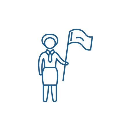 Female target line concept icon. Female target flat  vector website sign, outline symbol, illustration.