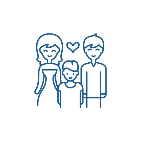 Family with child line concept icon. Family with child flat  vector website sign, outline symbol, illustration.
