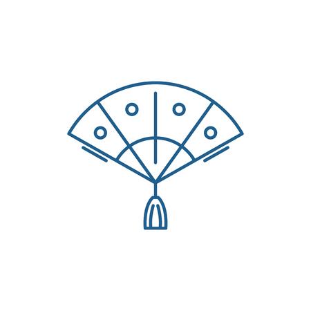 Fan line concept icon. Fan flat  vector website sign, outline symbol, illustration.