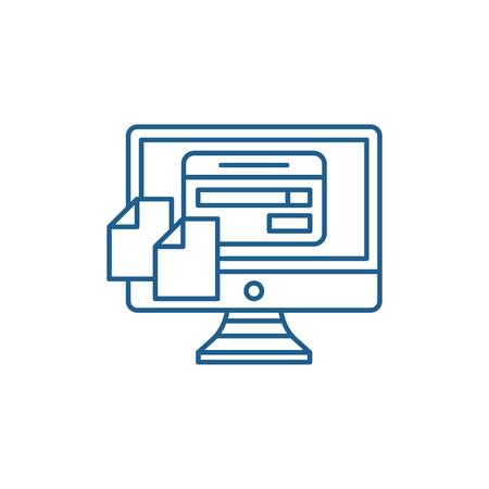 FILE Transfering line concept icon. FILE Transfering flat  vector website sign, outline symbol, illustration. Ilustrace