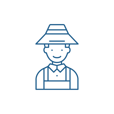 Farmer line concept icon. Farmer flat  vector website sign, outline symbol, illustration.